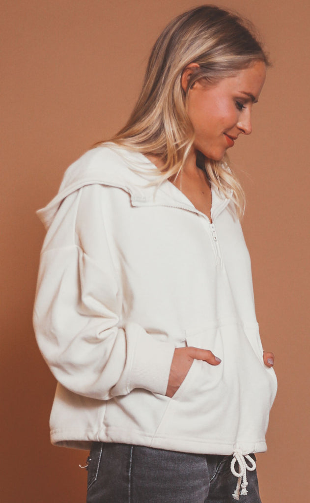 z supply: ariel loop terry hoodie - bone