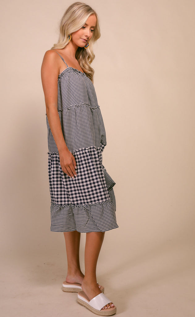 gingham gal ruffle dress - navy