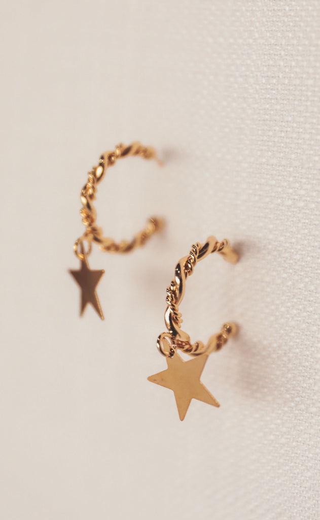 treasure jewels: star braided hoop earring