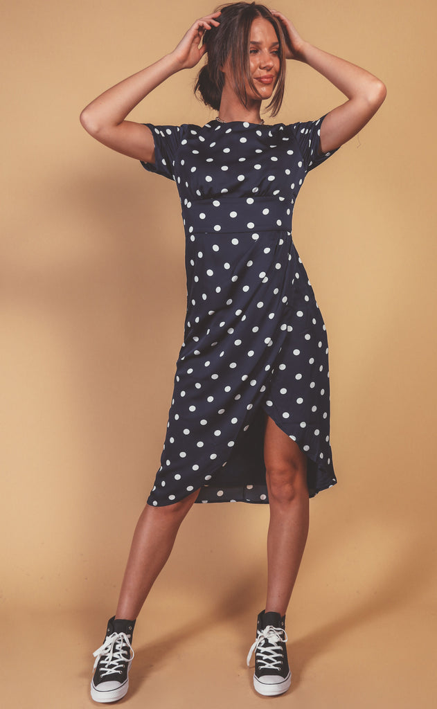 chic + spotted midi dress