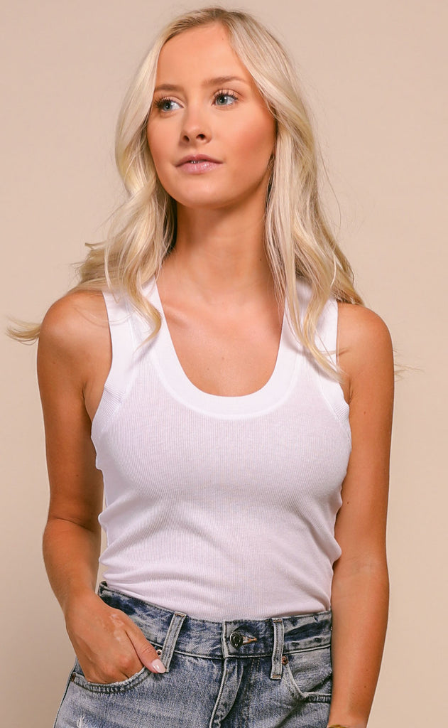 z supply: sirena ribbed tank - white