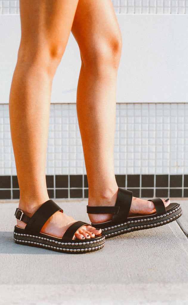 fancy feet studded platform sandals