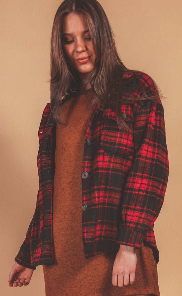 cozy by the campfire checked jacket