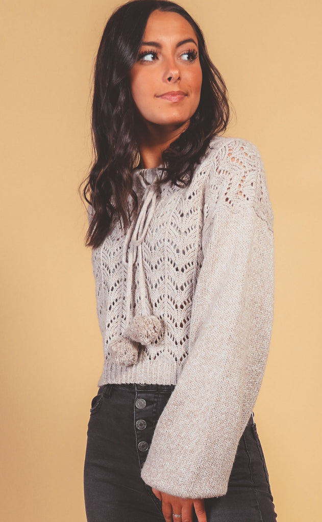 crochet all day pom sweater