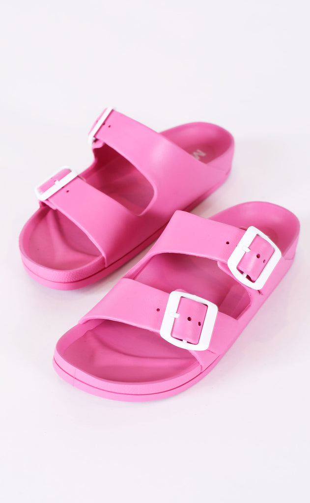 to the pool buckle slide - pink