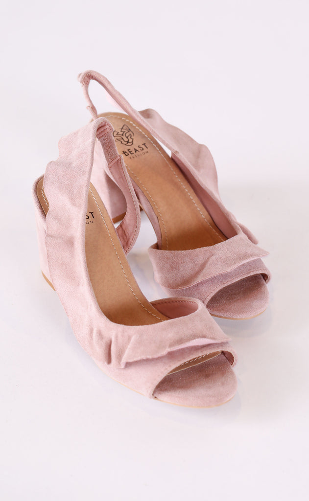 ruffled up peep toe heel - blush