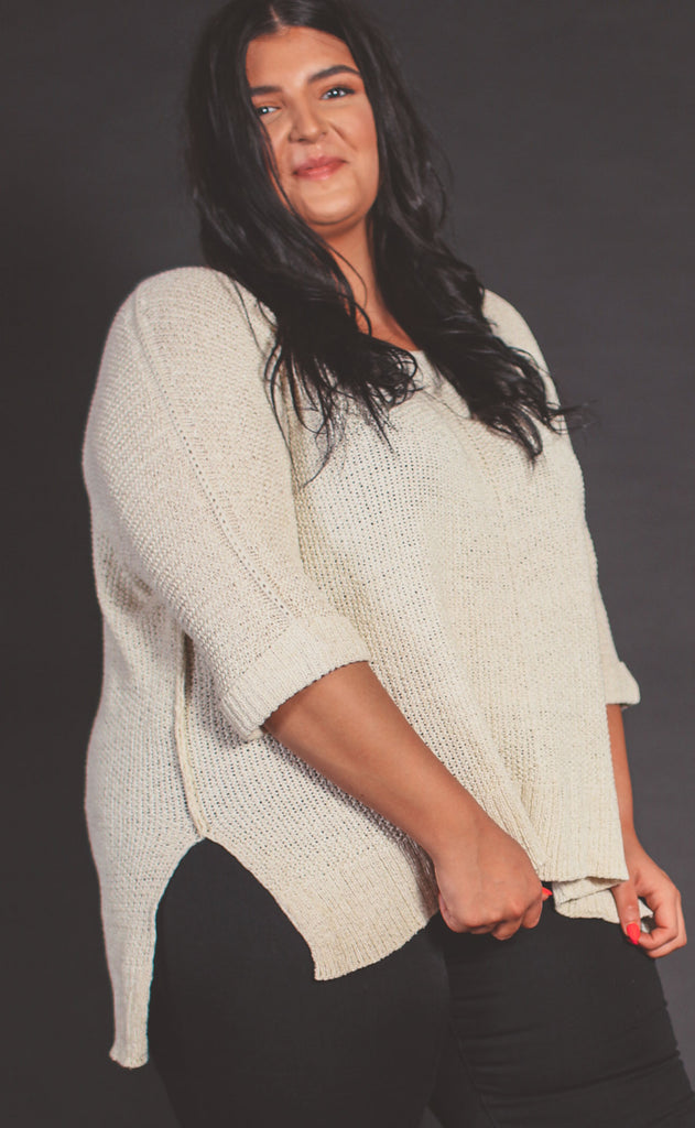 versatile knit sweater cream - extended