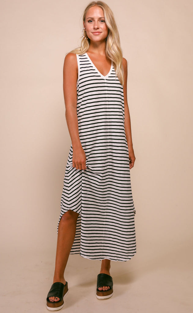 z supply: reverie stripe dress - black/desert white