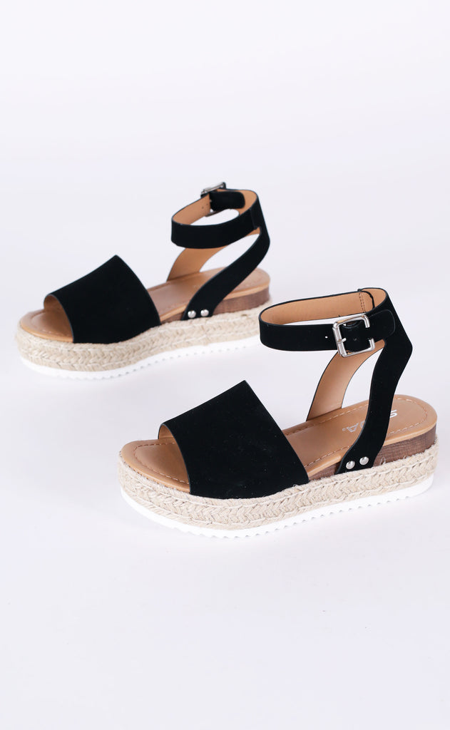 roped in platform sandals - black