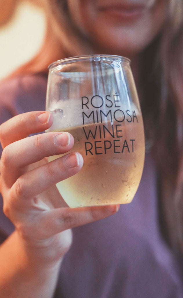 friday + saturday: rose mimosa wine glass