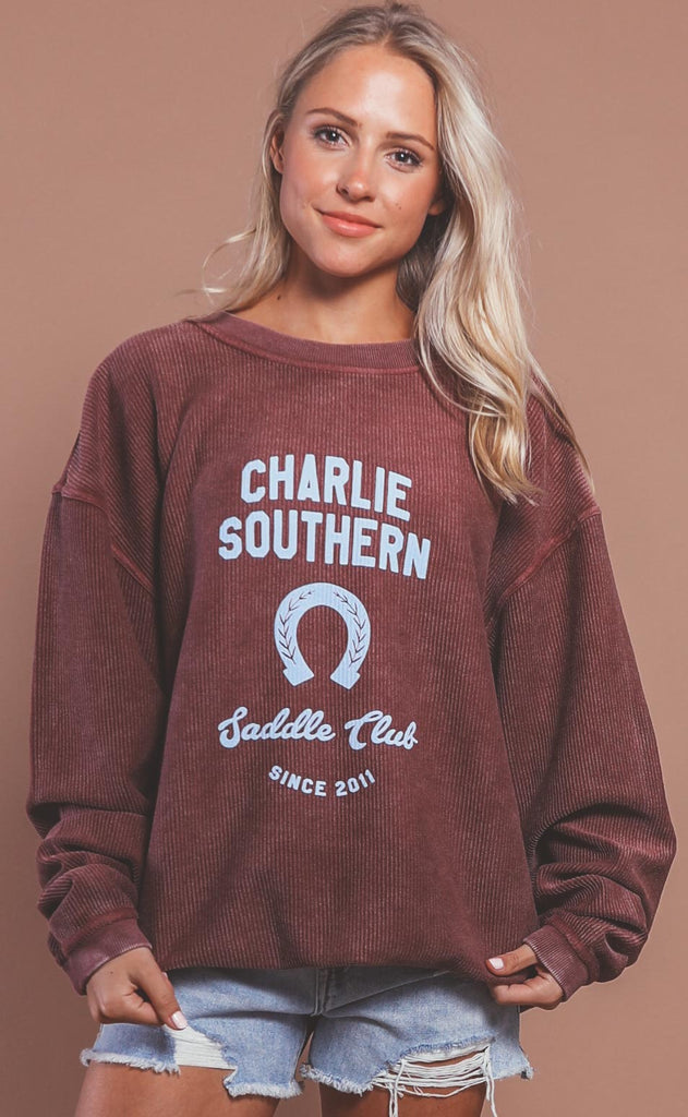 charlie southern: saddle club corded sweatshirt