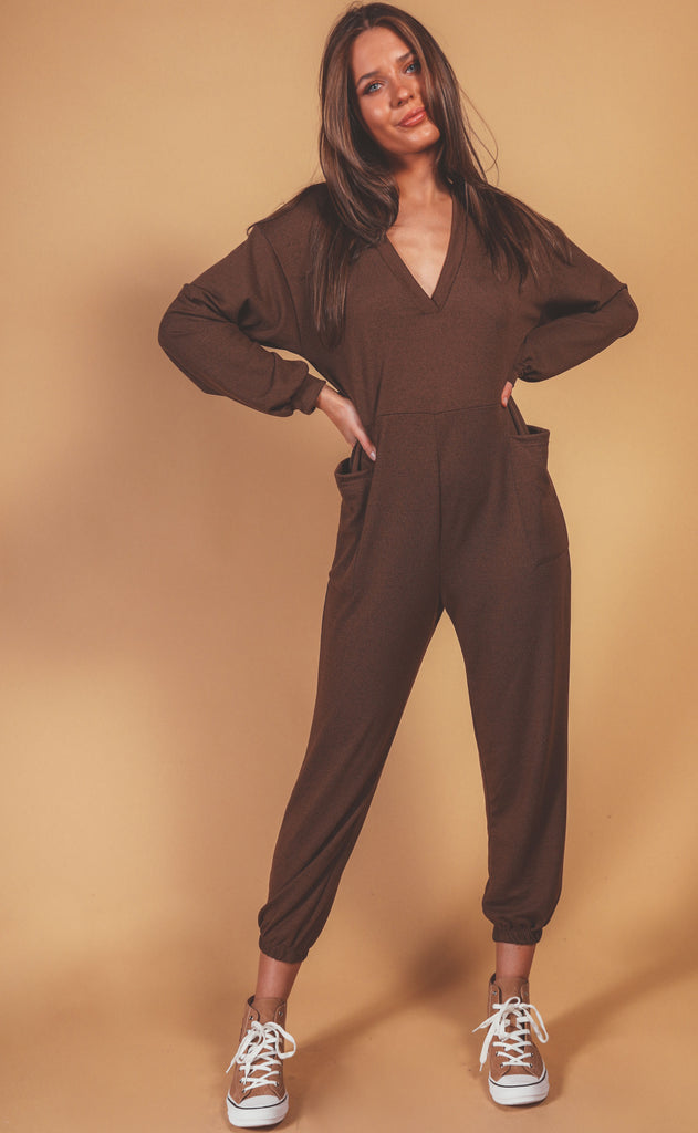 lounge time jumpsuit - cocoa