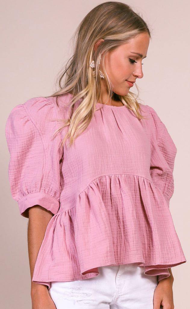 bright side woven top - peach blossom
