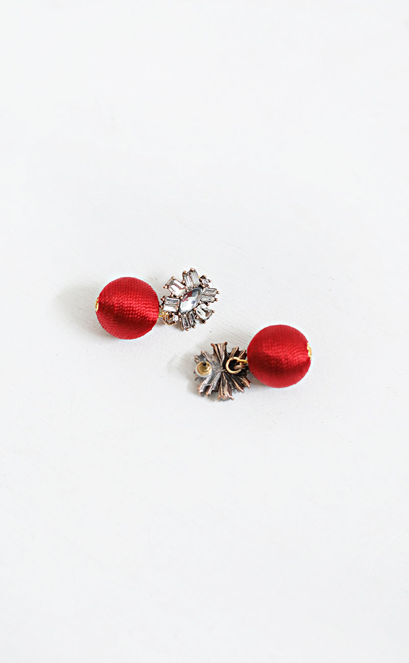 sparkle drop earrings - red