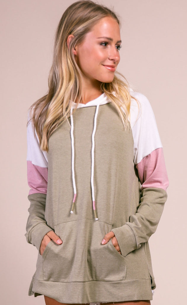 blocked out slouchy hoodie