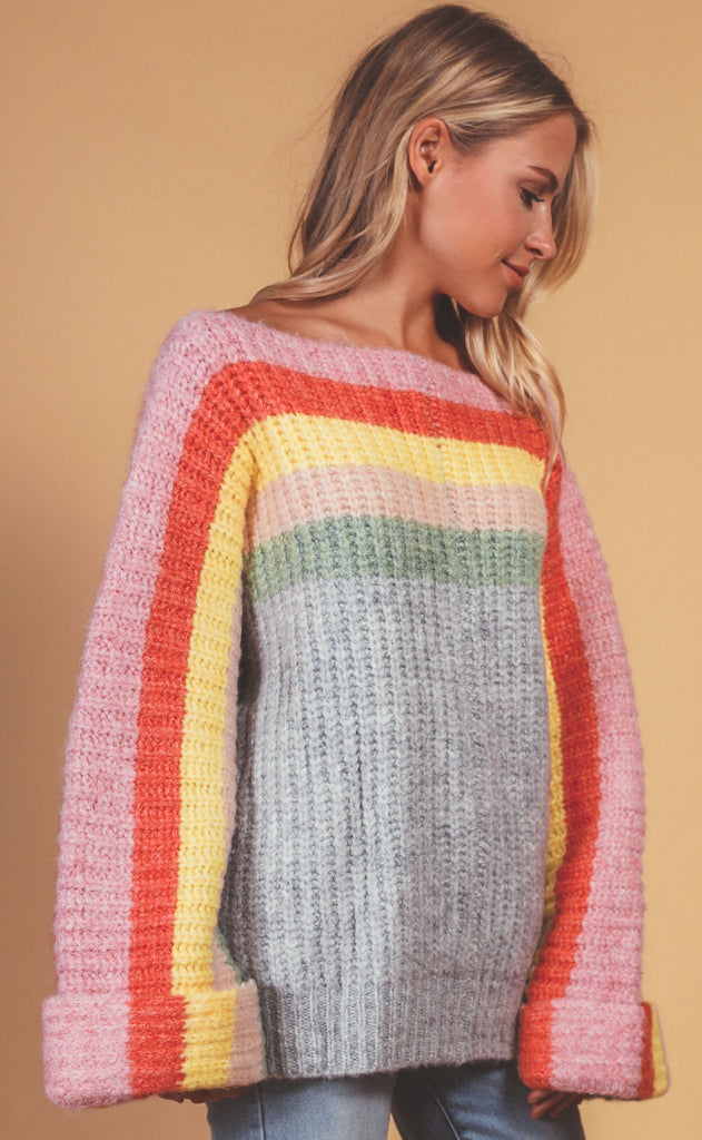 rainbow connection knit sweater