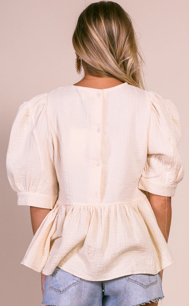 bright side woven top - cream