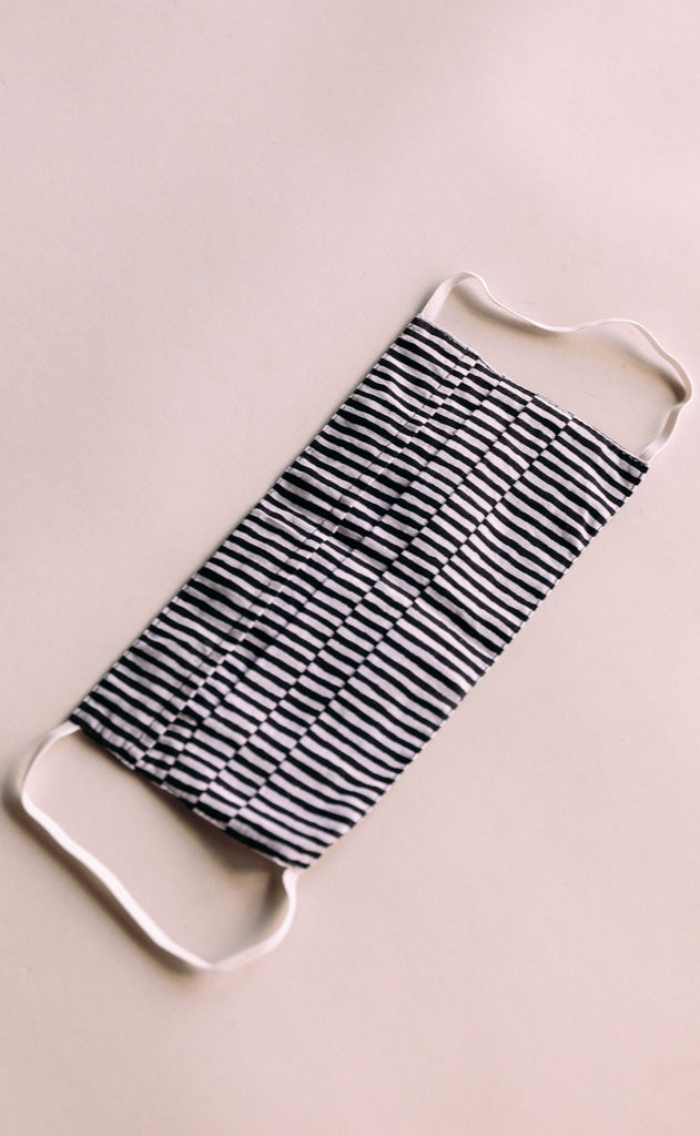 adult face mask - black and white stripe