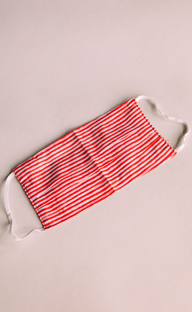 adult face mask - red and white stripe