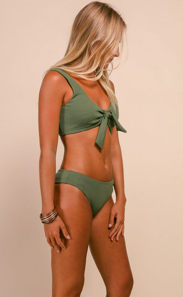 pool party ribbed bikini set - olive
