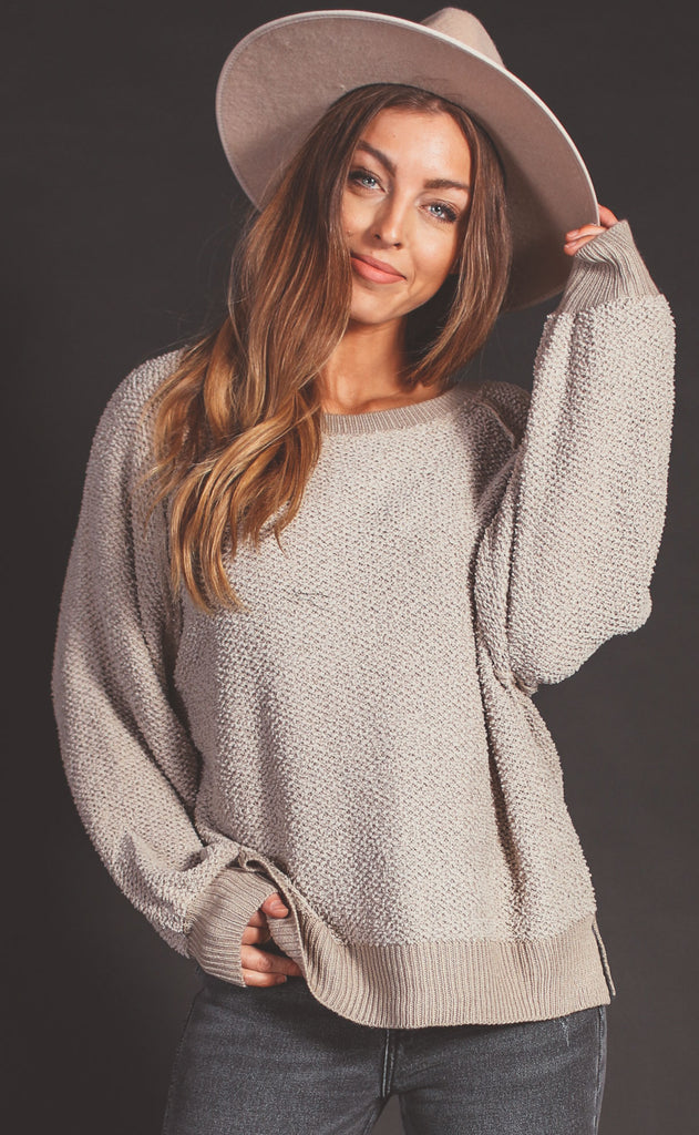 seasons change textured sweater