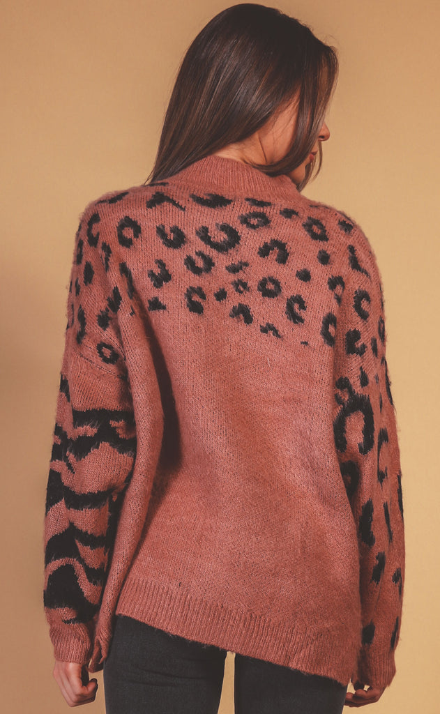 leopard lovin' mock neck sweater - terracotta