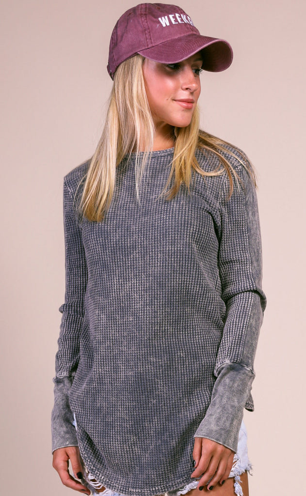 washed out long sleeve top - grey