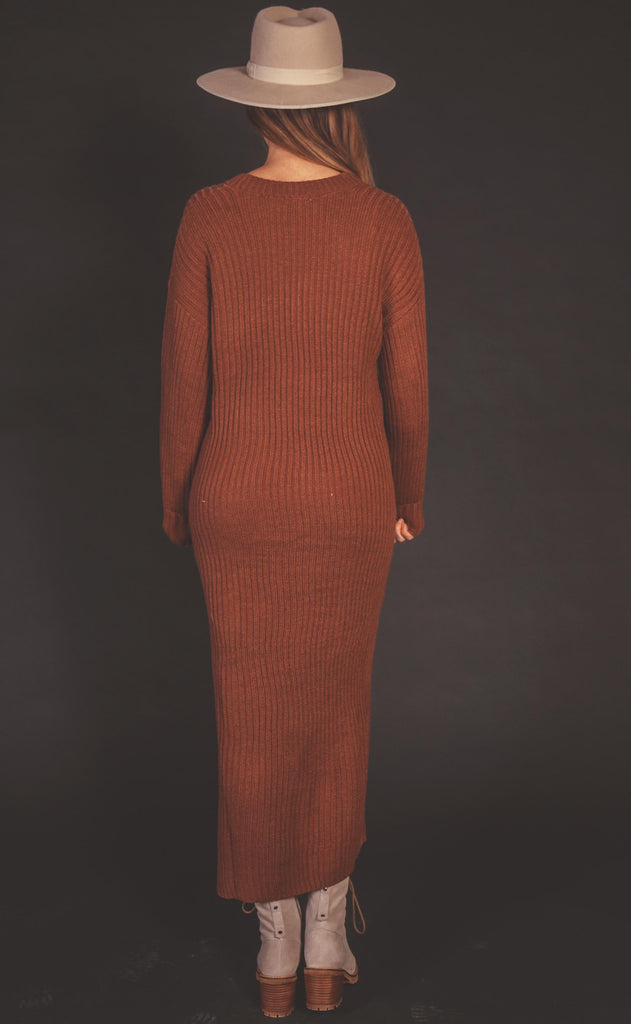 free fall midi sweater dress - rust