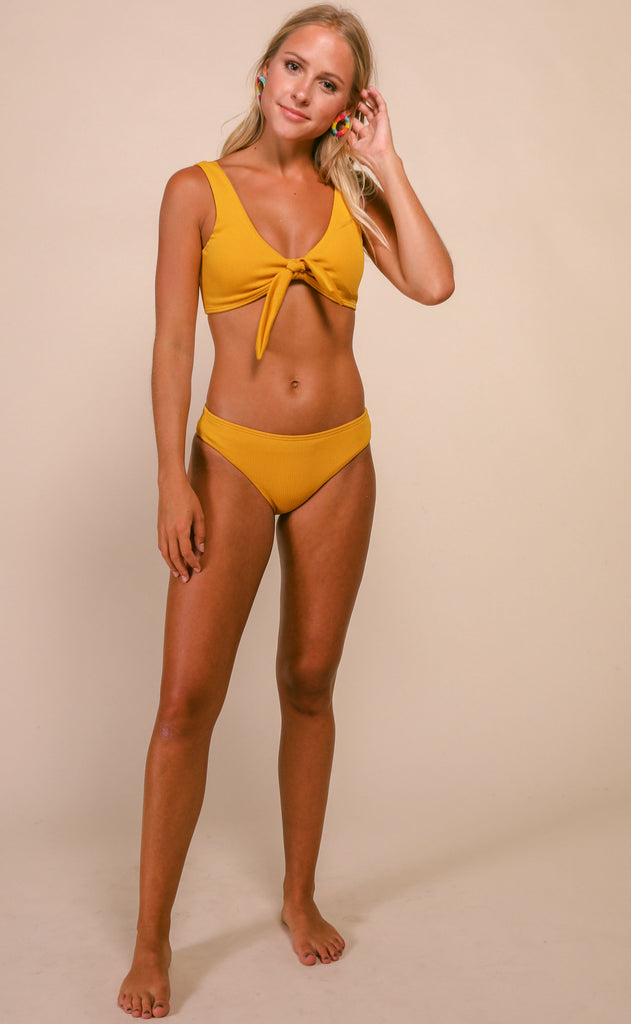 pool party ribbed bikini set - mustard