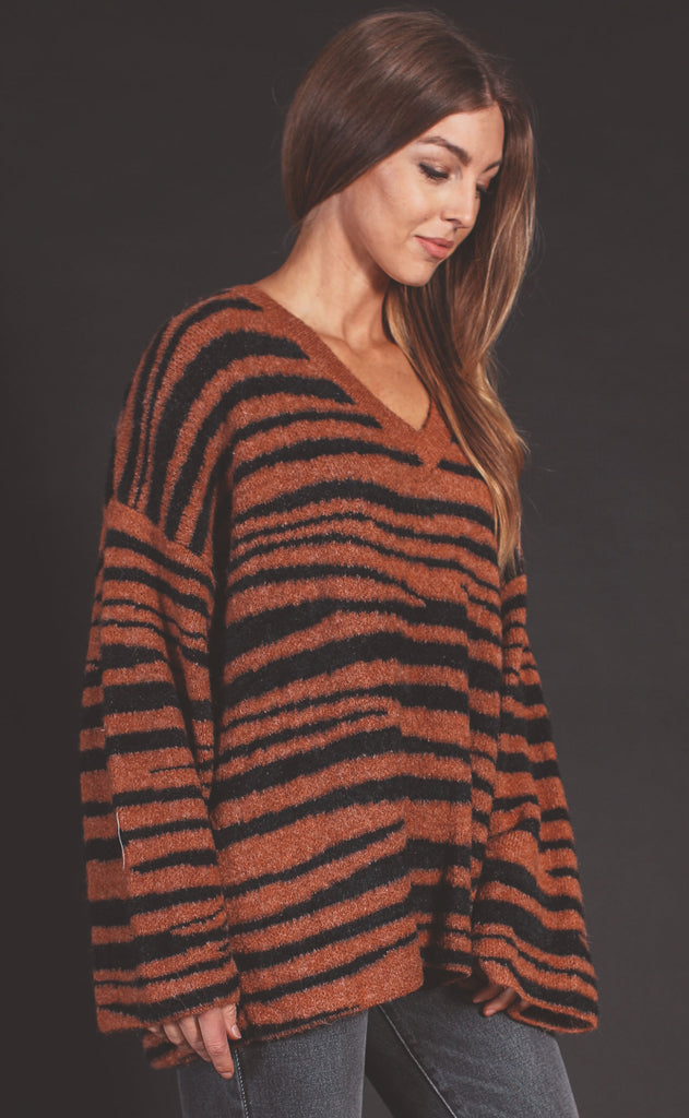 zebra knit tie back sweater - camel