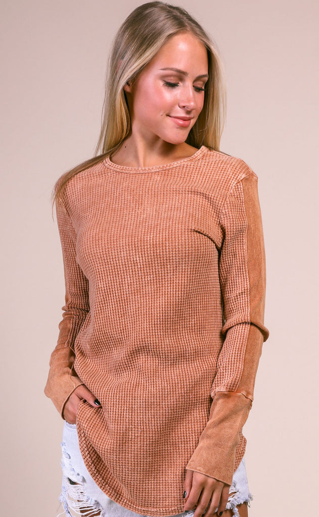 washed out long sleeve top - cinnamon