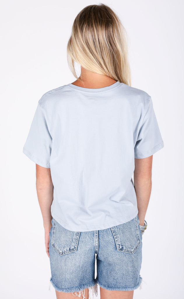 richer poorer: boxy crop tee - blue grey