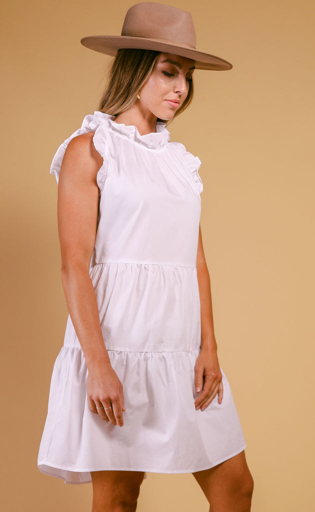 cape cod ruffle dress - white