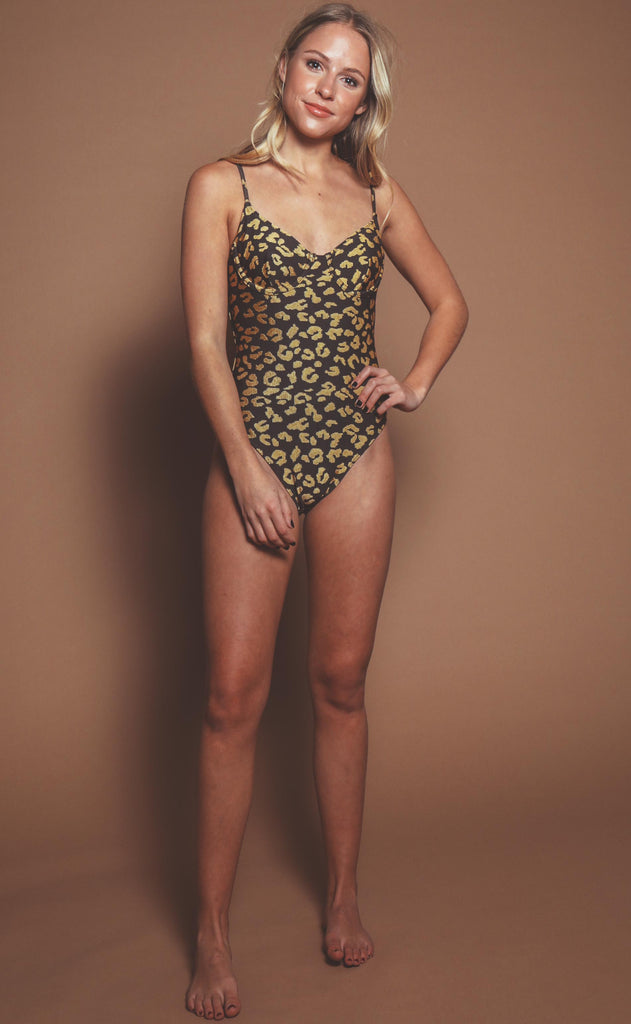 solid & striped: taylor one piece - gold leopard jacquard