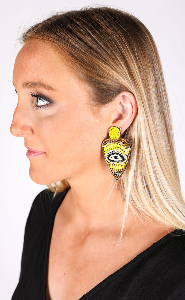 eye heart you statement earrings - yellow
