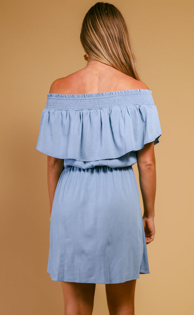 patio weather off the shoulder dress