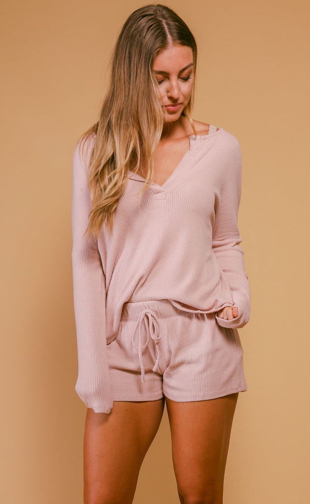 olivia rib knit cozy set - rose