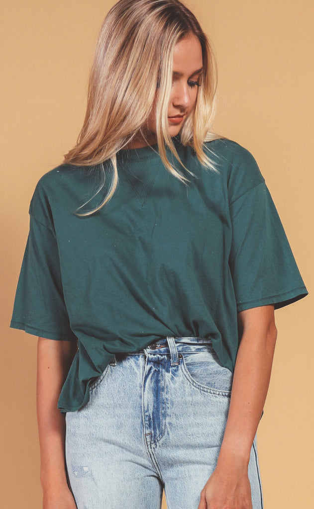 project social t: closure rib mixed tee - teal