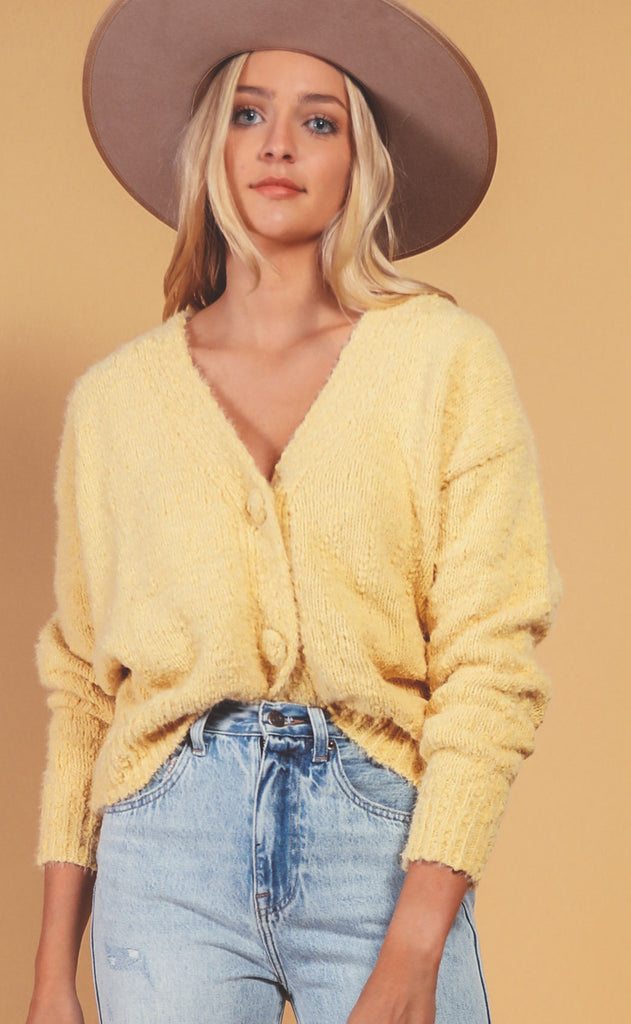 buttoned up knit cardigan - soft yellow
