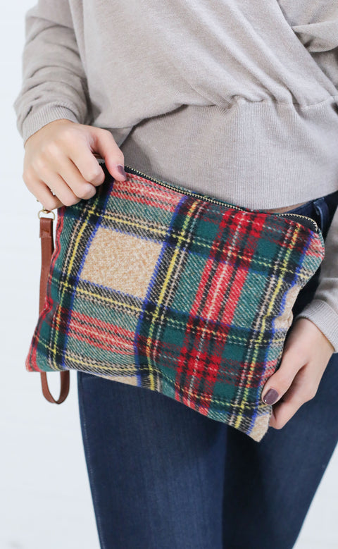 checking out plaid clutch - beige multi