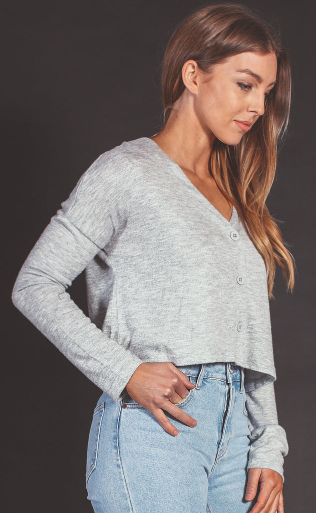 z supply: cher slub sweater top - heather grey