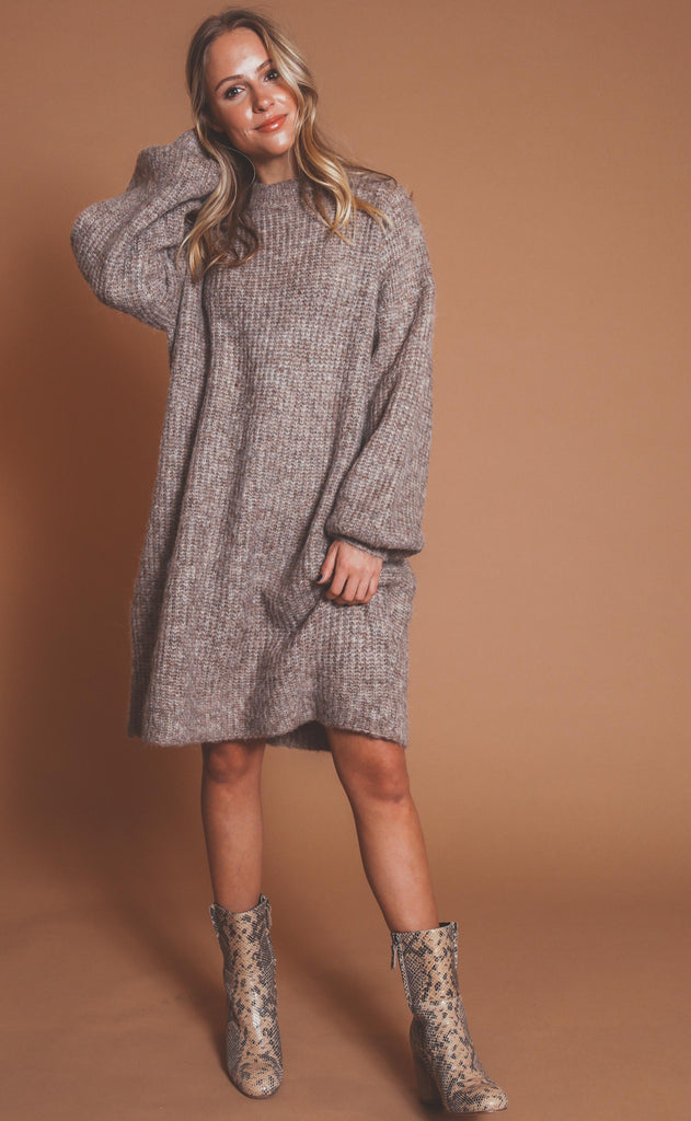 all mine sweater dress - taupe