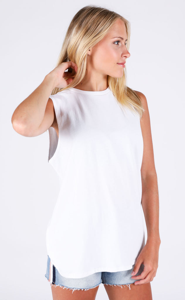 richer poorer: muscle tank - white