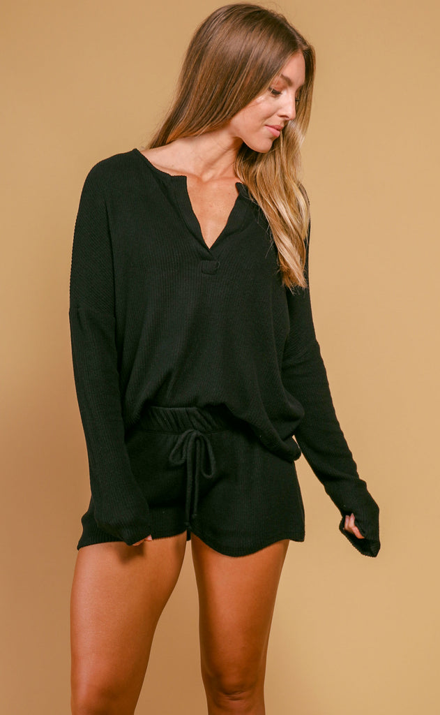 olivia rib knit cozy set - black