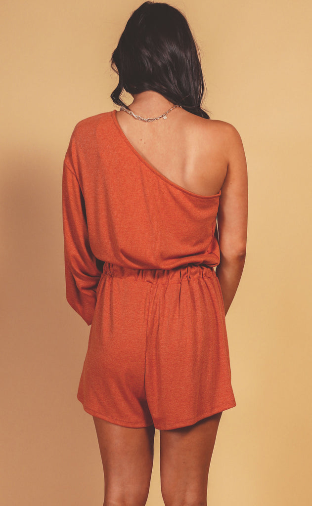 hold the applause one shoulder romper - rust