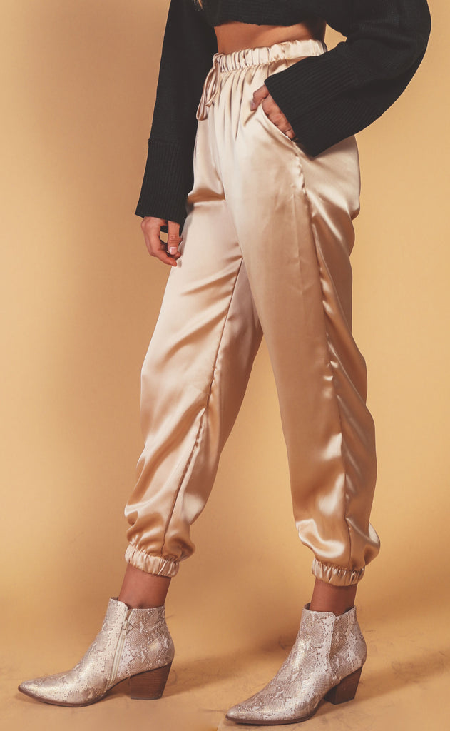 silky satin lounge pant - champagne