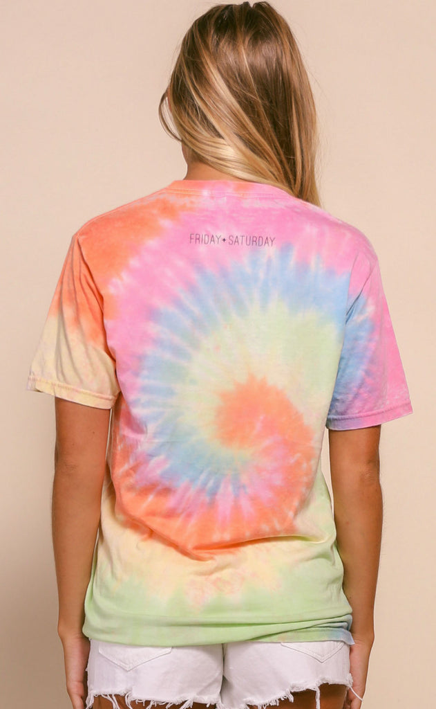friday + saturday: pogue tie dye t shirt - rainbow tie dye