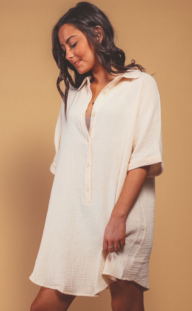 grabbing lattes shirt dress