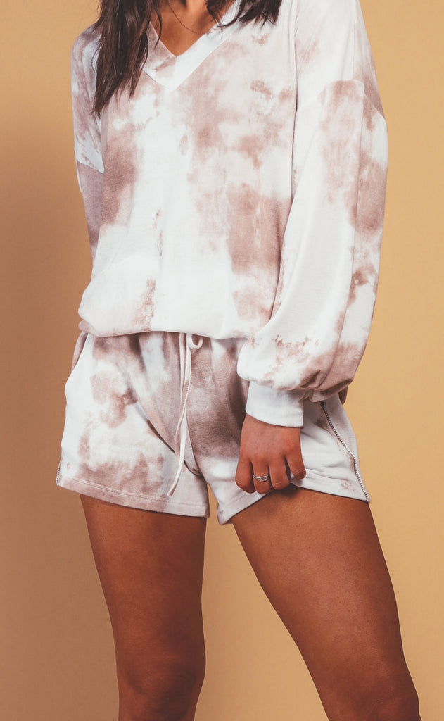 woodstock tie dye shorts - brick
