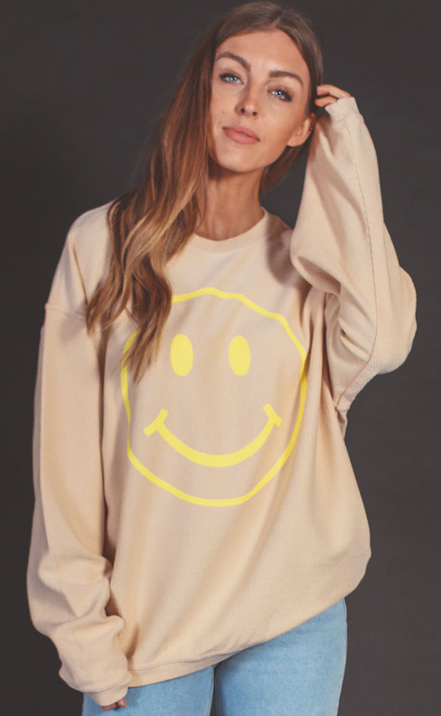 friday + saturday: smiley face corded sweatshirt